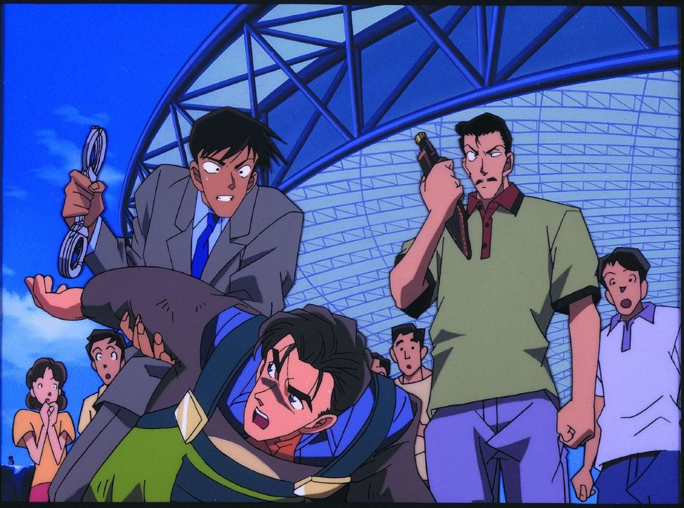 Conan und die Detective Boys Ran und Kogoro (r.) sind in einem Vergnügungspark, als Ran`s Verfolger einen fatalen Fehler macht und so auf frischer T... - Bildquelle: 2000 GOSHO AOYAMA / SHOGAKUKAN - YTV - UNIVERSAL MUSIC - ShoPro - TOHO - TMS. All Rights Reserved. Under License to VIZ Media Switzerland SA. Animat