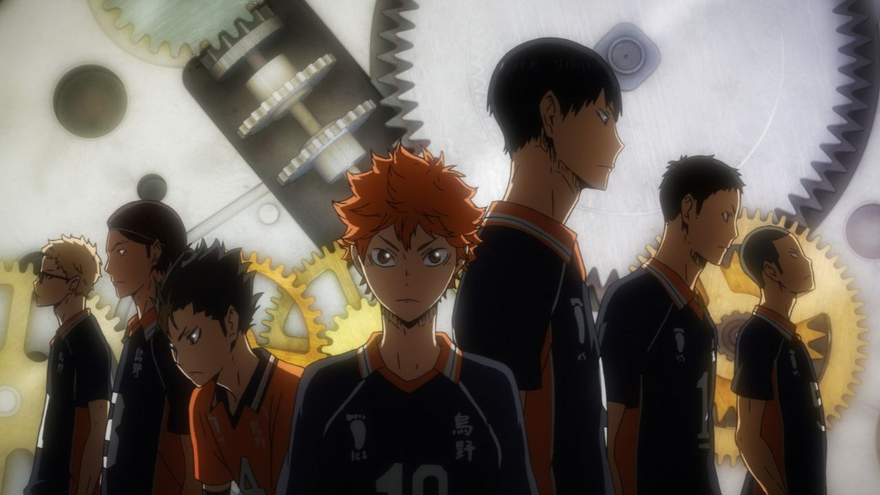 "(v.l.n.r.) Kei Tsukishima; Asahi Azumane; Yu Nishinoya; Shoyo Hinata; Tobio Kageyama; Chikara Ennoshita; Ryunosuke Tanaka - Bildquelle: H. Furudate / Shueisha, ""HAIKYU!! 2nd Season"" Project, MBS  All Rights Reserved."