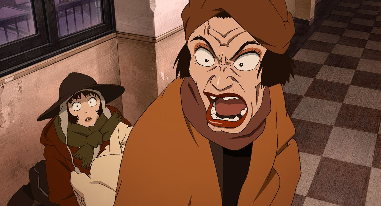 So hat Miyuki (l.) Drag Queen Hana (r.) noch nie erlebt, aber für das Findelkind kämpft diese wie eine Löwin ... - Bildquelle: 2003 Satoshi Kon, Mad House and Tokyo Godfathers Committee. All Rights Reserved.