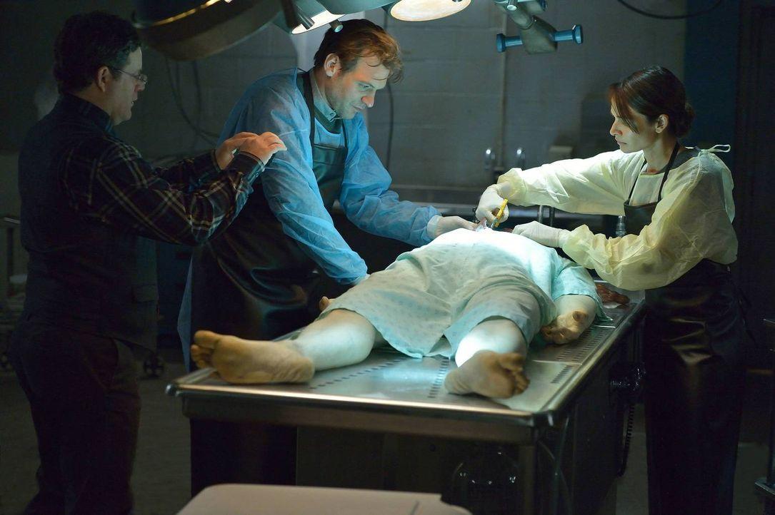 Bei der Autopsie des toten Piloten machen Jim (Sean Astin, l.), Eph (Corey Stoll, M.) und Nora (Mia Maestro, r.) erstaunliche Entdeckungen, die alle... - Bildquelle: 2014 Fox and its related entities. All rights reserved.