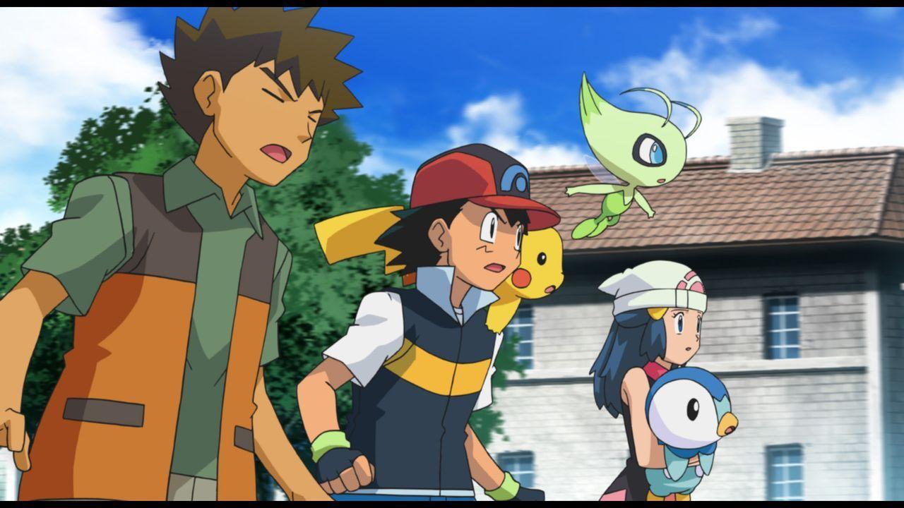 Rocko (l.), Ash (2.v.l.), Pikachu (3.v.l.), Lucia (2.v.r.) und Plinfa (r.) machen sich auf zu einem bedeutenden Weltcup, doch ausgerechnet jetzt tau... - Bildquelle: 2014 Pokémon.   1997-2014 Nintendo, Creatures, GAME FREAK, TV Tokyo, ShoPro, JR Kikaku. TM, ® Nintendo.