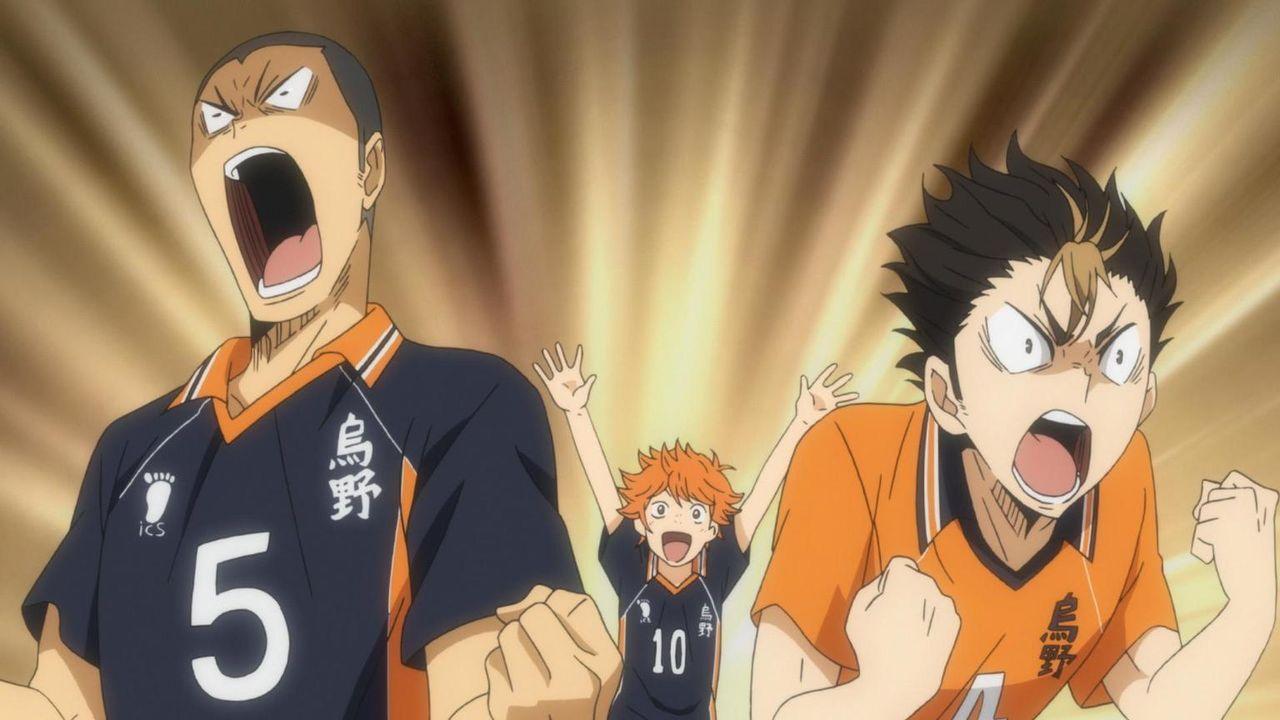 "Ryunosuke Tanaka (l.); Shoyo Hinata (M.); Yu Nishinoya (r.) - Bildquelle: H.Furudate / Shueisha,""Haikyu!!?Project, MBS"