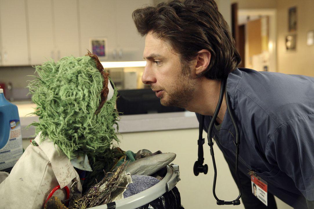 Was ist nur mit J.D. (Zach Braff, r.) los - hat er wirklich Besuch von Oscar (l.) aus der Sesamstrasse erhalten? - Bildquelle: Touchstone Television