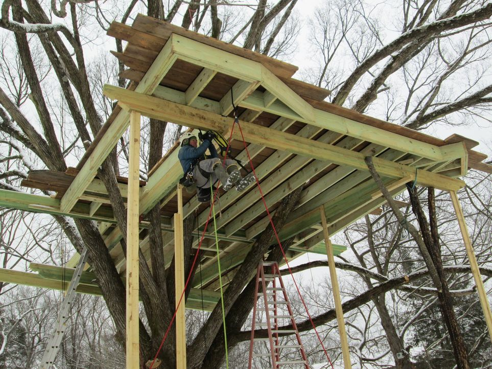 Eine der herausforderndsten Aufgaben, die die Treehouse Guys bisher hatten: Wo in den 20er Jahren Charles Lindbergh landete, sollen nun die Baumhaus... - Bildquelle: 2016,DIY Network/Scripps Networks, LLC. All Rights Reserved.