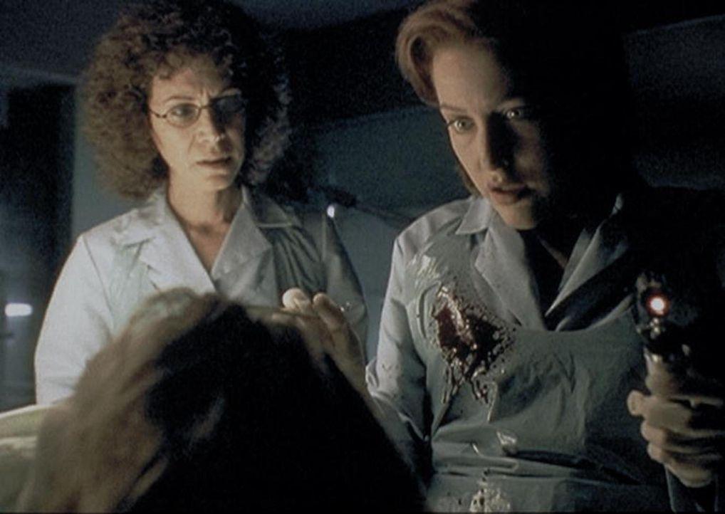 Scully (Gillian Anderson, r.) und die Gerichtsmedizinerin (Mindy Seeger, l.) stellen fest, dass die angebliche Geisel nicht durch eine Polizeikugel... - Bildquelle: TM +   2000 Twentieth Century Fox Film Corporation. All Rights Reserved.
