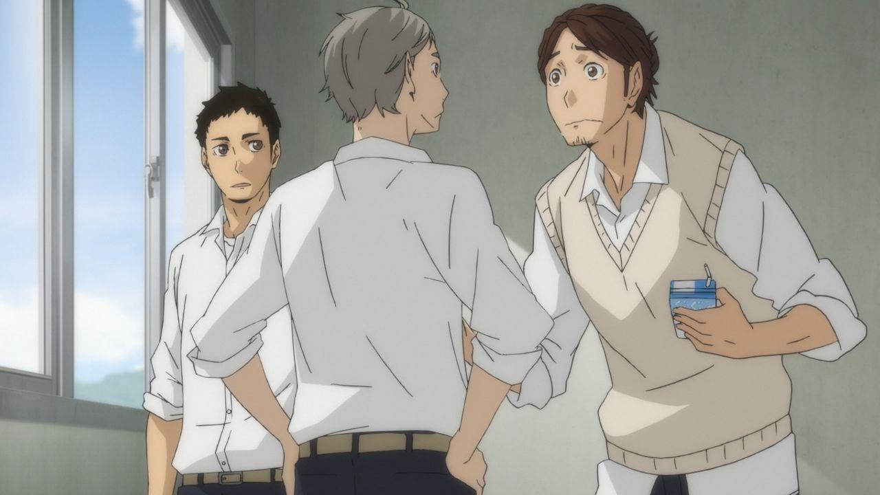 "Daichi Sawamura (l.); Koshi Sugawara (M.); Asahi Azumane (r.) - Bildquelle: H.Furudate / Shueisha,""Haikyu!!?Project, MBS"