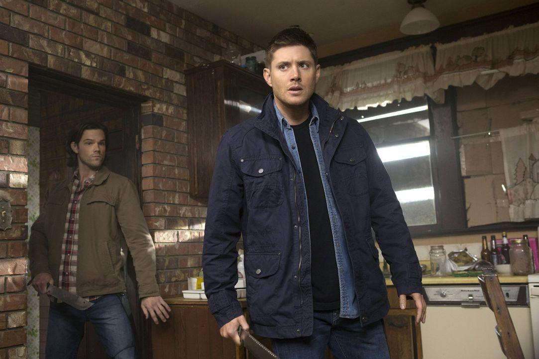 Sam (Jared Padalecki, l.) und Dean (Jensen Ackles, r.) sind sich schnell sicher, dass es in der Stadt ein Vampir-Nest gibt, doch ihre einzige gute I... - Bildquelle: 2013 Warner Brothers