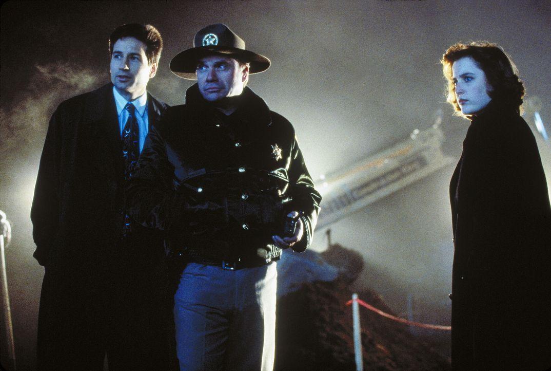Als unter Samuel Hartleys Händen drei Menschen zu Tode kommen, ruft Sheriff Daniels (R. D. Call, M.) die FBI-Agenten Fox Mulder (David Duchovny, l.)... - Bildquelle: TM +   Twentieth Century Fox Film Corporation. All Rights Reserved.