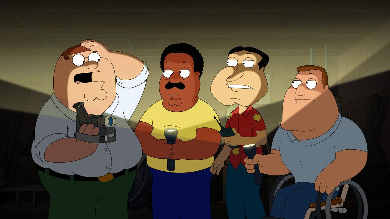 (v.l.n.r.) Peter Griffin, Cleveland Brown, Glenn Quagmire, Joe Swanson - Bildquelle: 2018-2019 Fox and its related entities. All rights reserved.