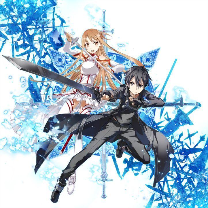 (1. Staffel) - In der virtuellen Welt von Calibur wollen Asuna (l.), Kazuto alias Kirito (r.) und einige ihrer SAO-Freunde das legendäre Schwert Exc... - Bildquelle: REKI KAWAHARA/ASCII MEDIA WORKS/SAO Project