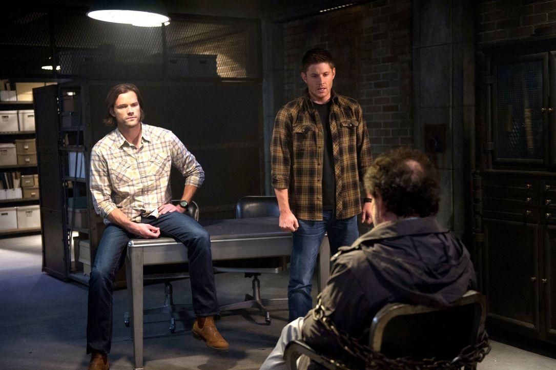 Während Sam (Jared Padalecki, l.) und Dean (Jensen Ackles, r.) auf ungewöhnlichen Wege nach einem Mittel gegen das Kainsmal suchen, treibt Rowena we... - Bildquelle: 2016 Warner Brothers