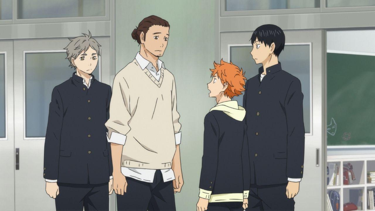"(v.l.n.r.) Koshi Sugawara; Asahi Azumane; Shoyo Hinata; Tobio Kageyama - Bildquelle: H.Furudate / Shueisha,""Haikyu!!?Project,MBS"