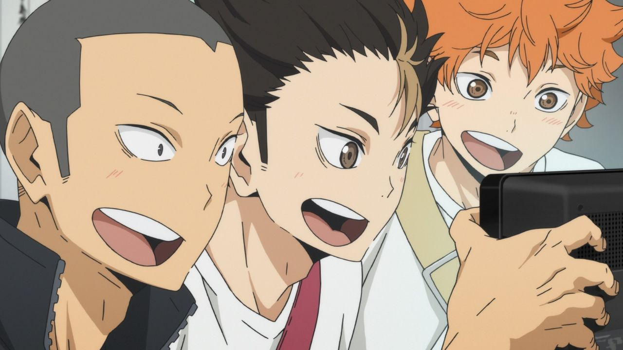 "Ryunosuke Tanaka (l.); Yu Nishinoya (M.); Shoyo Hinata (r.) - Bildquelle: H.Furudate / Shueisha,""Haikyu!!?Project, MBS"