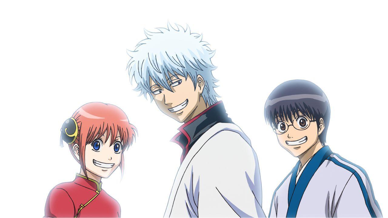 Während seine besten Freunde Kagura (l.) und Shinpachi (r.) im Streit über Gintokis Erbe liegen, erkennt Gintoki (M.), dass er nicht ohne Grund in d... - Bildquelle: Hideaki Sorachi/GINTAMA the Movie