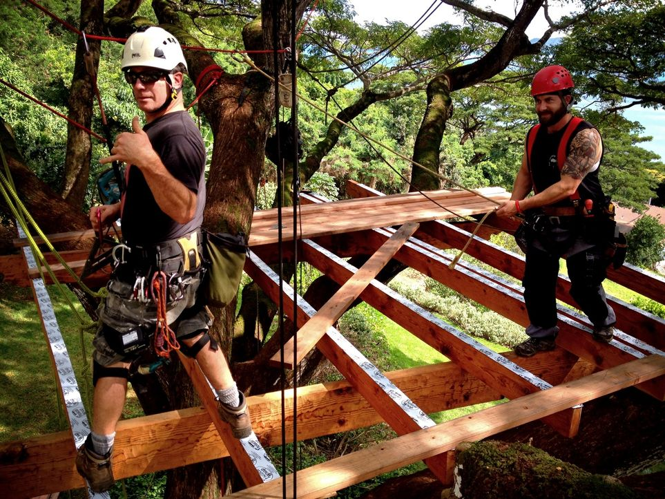 Für die Treehouse Guys ist kein Holz zu schwer und kein Baum zu hoch: Jason (l.) und Ka-V. - Bildquelle: 2014, DIY Network/Scripps Networks, LLC. All RIghts Reserved.