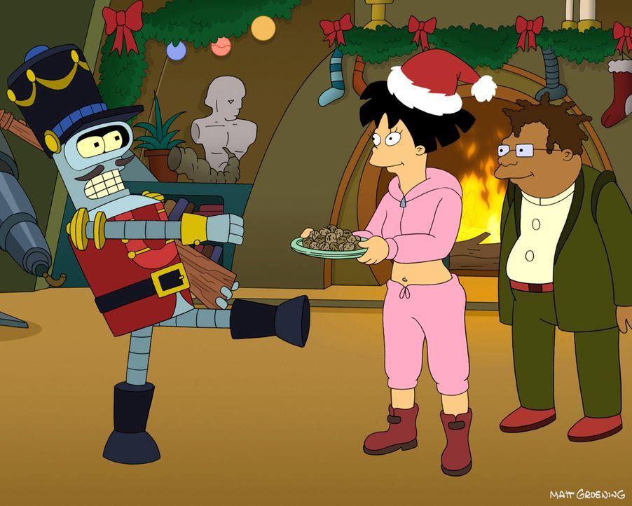 Außerirdische Weihnachten mit Bender (l.), Amy (M.) und Hermes (r.) ... - Bildquelle: 2003 Twentieth Century Fox Film Corporation. All rights reserved.