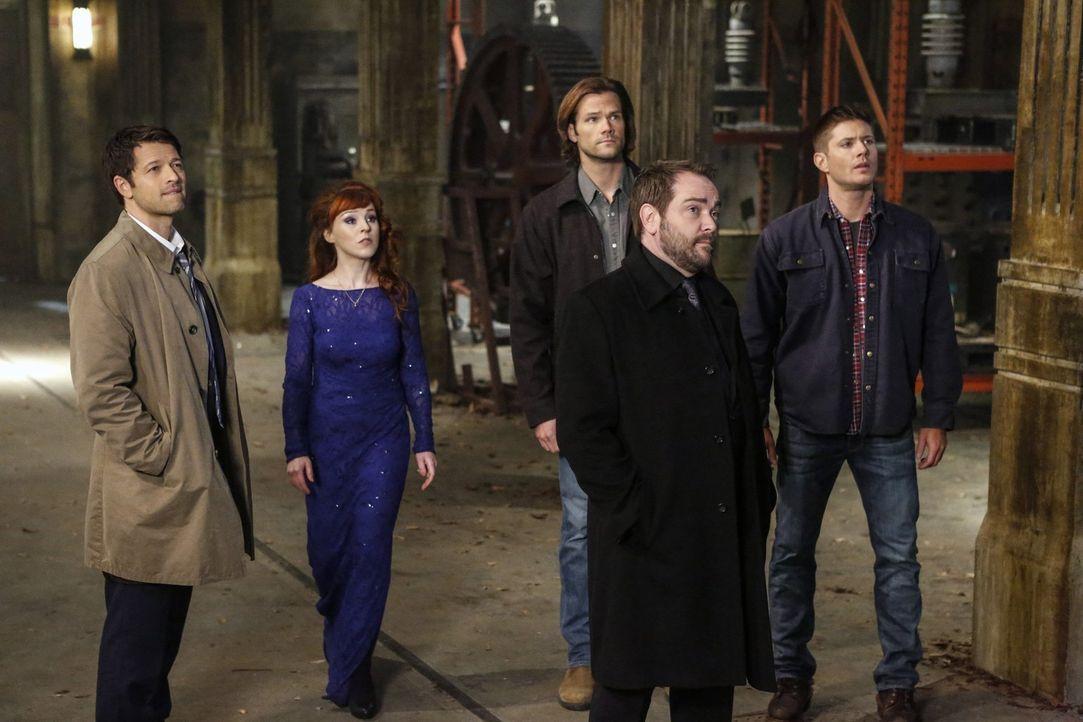 Nur gemeinsam haben Lucifer (Misha Collins, l.), Rowena (Ruth Connell, 2.v.l.), Sam (Jared Padalecki, M.), Crowley (Mark Sheppard, 2.v.r.), Dean (Je... - Bildquelle: 2014 Warner Brothers