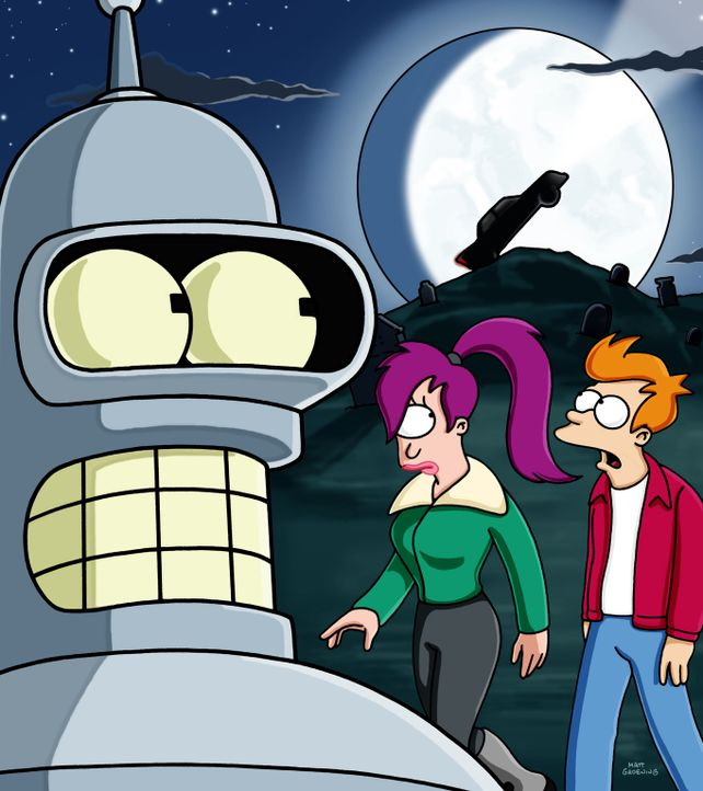 Bender (l.), Leela (M.) und Fry (r.) machen sich auf die Suche nach dem Original-Werwagen ... - Bildquelle: und TM Twenthieth Century Fox Film Corporation - Alle Rechte vorbehalten