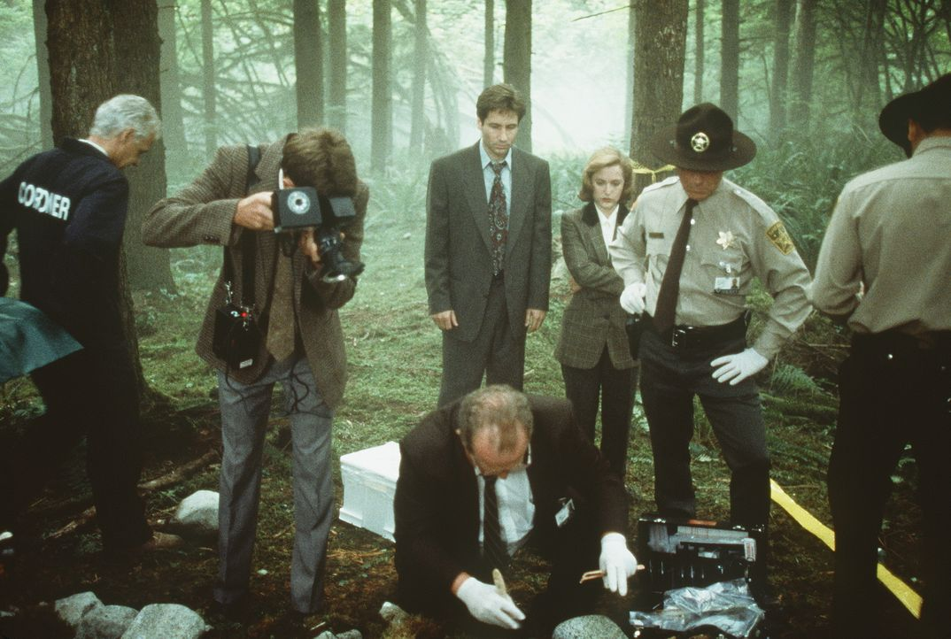 Die örtliche Polizei und die beiden FBI-Agenten Scully (Gillian Anderson, Mitte r.) und Mulder (David Duchovny, Mitte l.) entdecken in einem Waldstü... - Bildquelle: TM +   Twentieth Century Fox Film Corporation. All Rights Reserved.