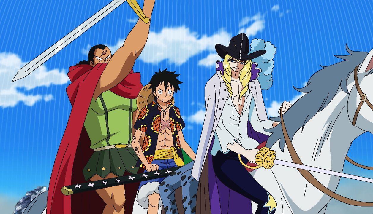 (v.l.n.r.) Kyros; Ruffy; Cavendish - Bildquelle: Eiichiro Oda/Shueisha, Toei Animation